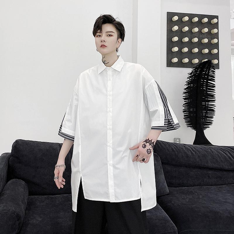 夏季ins潮牌袖口条纹拼接短袖衬衫男宽松个性设计感发型师衬衣潮
