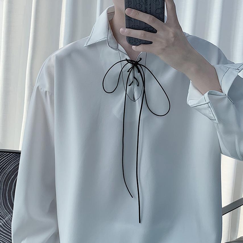 很仙的坠感禁欲系小众设计感长袖白色衬衫发型师潮牌男装痞帅衬衣
