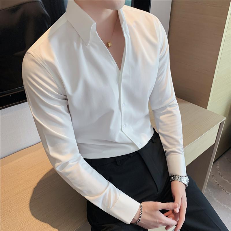 夏季薄款长袖衬衫男士纯色痞帅衬衣设计V领高级感发型师寸衫修身
