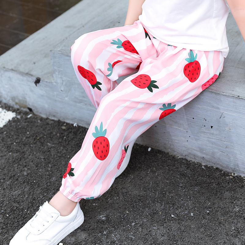 女童防蚊裤夏季薄款棉绸儿童女大童空调长裤宝宝夏装冰丝灯笼裤子