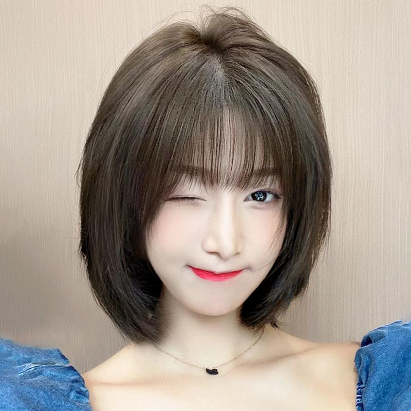假发女短发自然全头套式圆脸波波头仿真人发丝夏季中长发假发套头