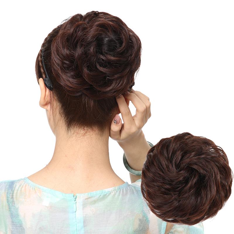 假发发圈短发头饰女自然蓬松丸子头卷发包仿真盘发器扎头发花苞头