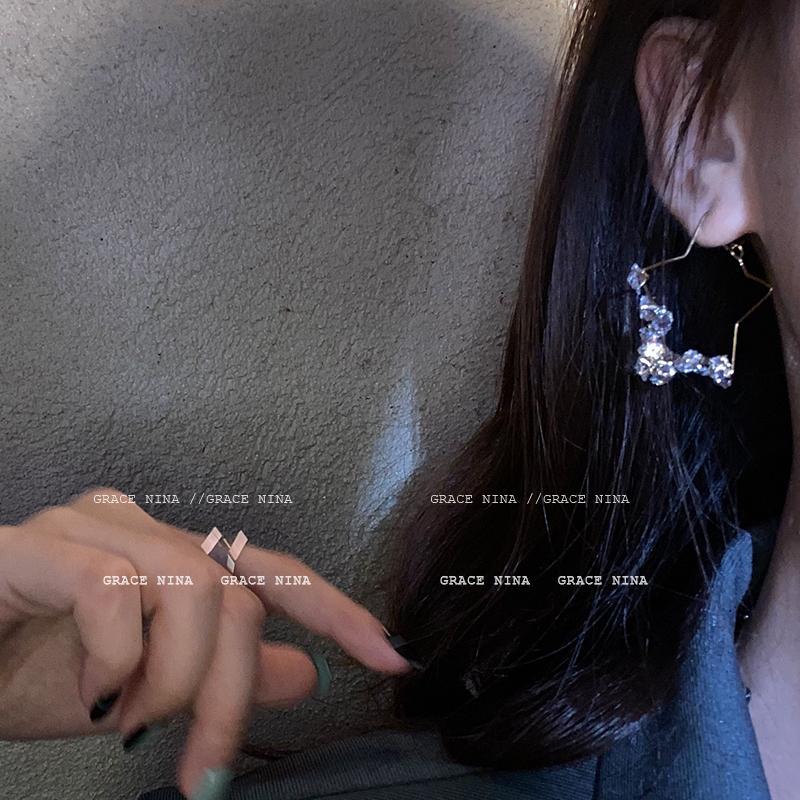 海王的宝藏~耳环2021年新款潮耳饰女耳钉显脸瘦个性气质长款水晶