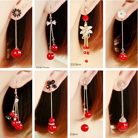 韩国气质百搭大红色珍珠长款耳环结婚新娘流苏耳钉修饰脸型耳饰女