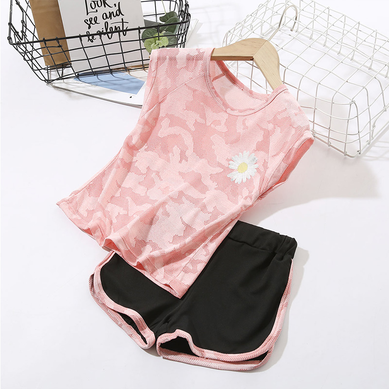 女童速干衣套装儿童夏季薄款短袖短裤两件套小女孩休闲瑜伽服