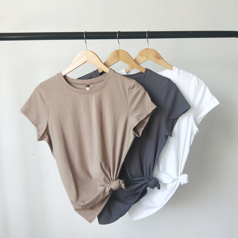 2021净版简单圆领显瘦夏季纯棉打底衫纯色浅咖色短袖T恤女修身SY