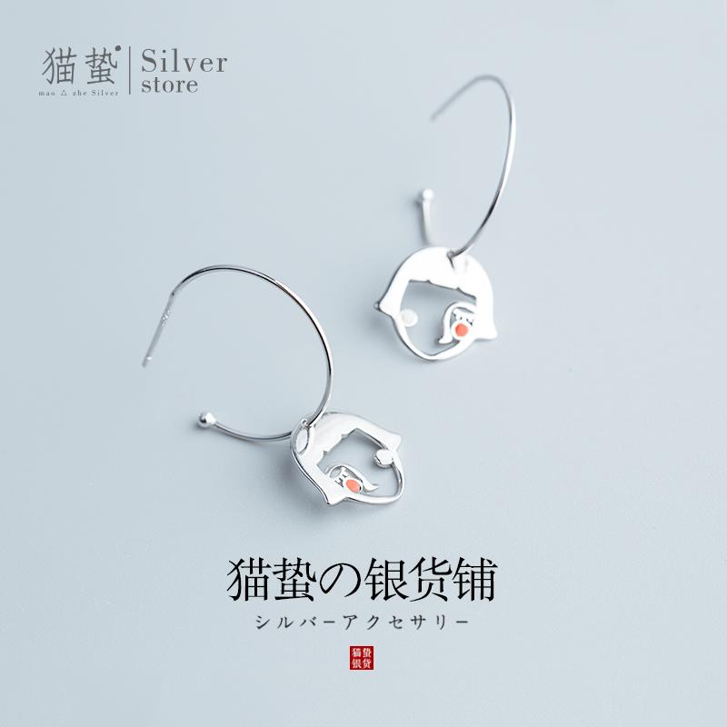 猫蛰短发姑娘耳环女S925纯银小众少女学生个性夸张气质时尚耳饰品