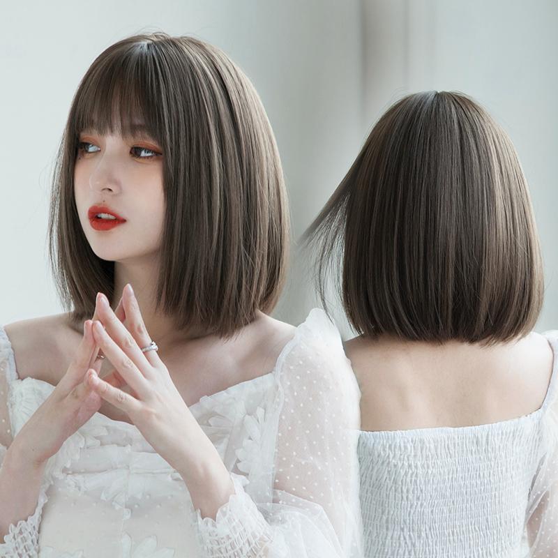 波波头中短发假发女 齐肩韩国自然无痕学生头圆脸短发造型全头套