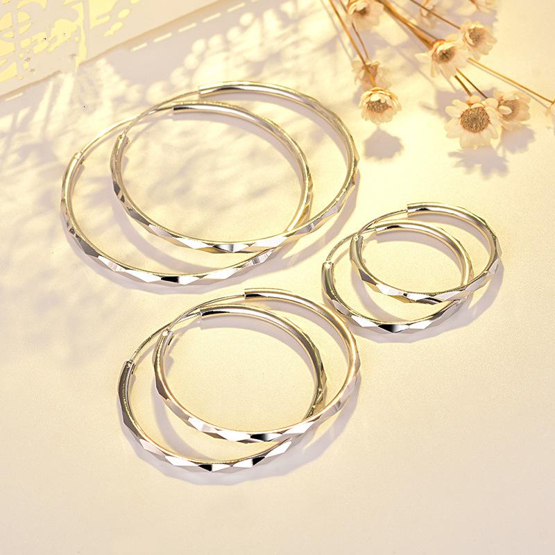 925纯银女欧美风格大圆圈耳环女士时尚耳圈修饰脸型耳饰品防过敏