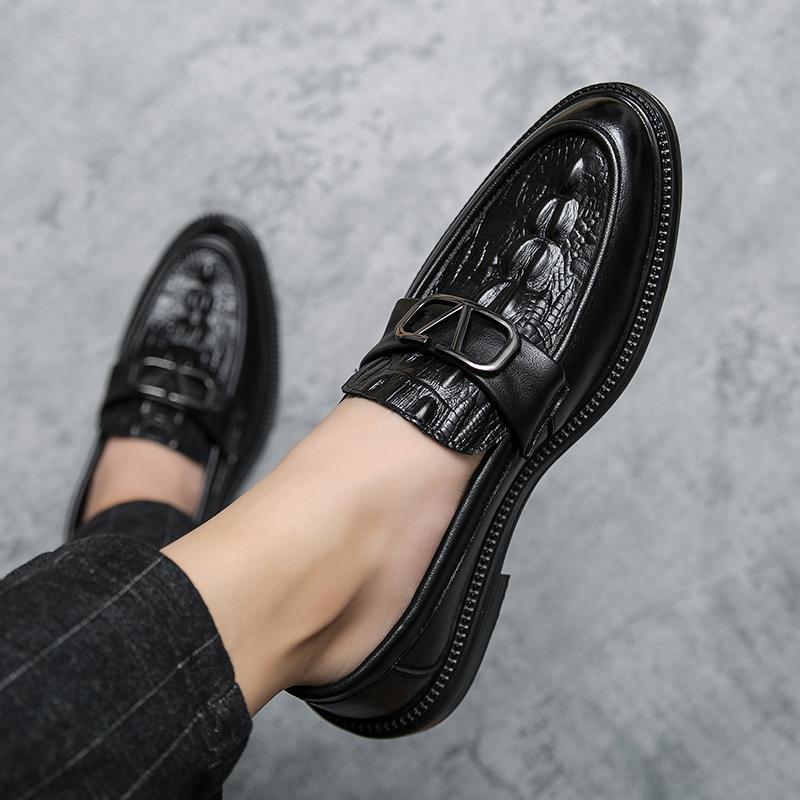 韩版尖头小皮鞋男夏季薄款英伦发型师潮青年休闲透气一脚蹬男鞋子