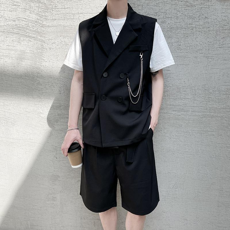 夏季薄款发型师休闲马甲一套男装套装潮牌短裤两件套潮流搭配痞帅