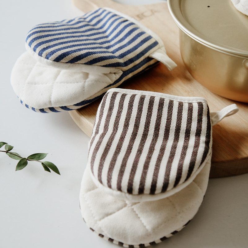 日式加厚微波炉手套棉麻防烫耐高温厨房烘培手套家用蒸箱烤箱专用