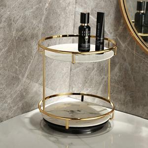 北欧式洗漱梳妆台桌面香水化妆品双层旋转收纳置物架盒托盘卫生间