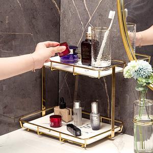 网红化妆品收纳盒梳妆台桌面双层口红香水收纳卫生间护肤品置物架