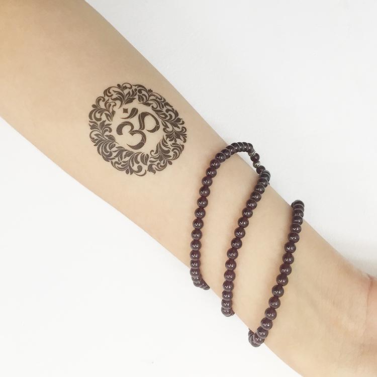 瑜见om瑜伽文化贴纸瑜伽纹身贴纸瑜伽符号 神圣莲花 6张一套