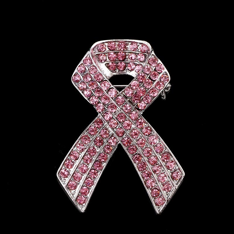 韩国时尚胸针百搭韩版满钻粉红丝带胸针胸花气质优雅服装配饰别针