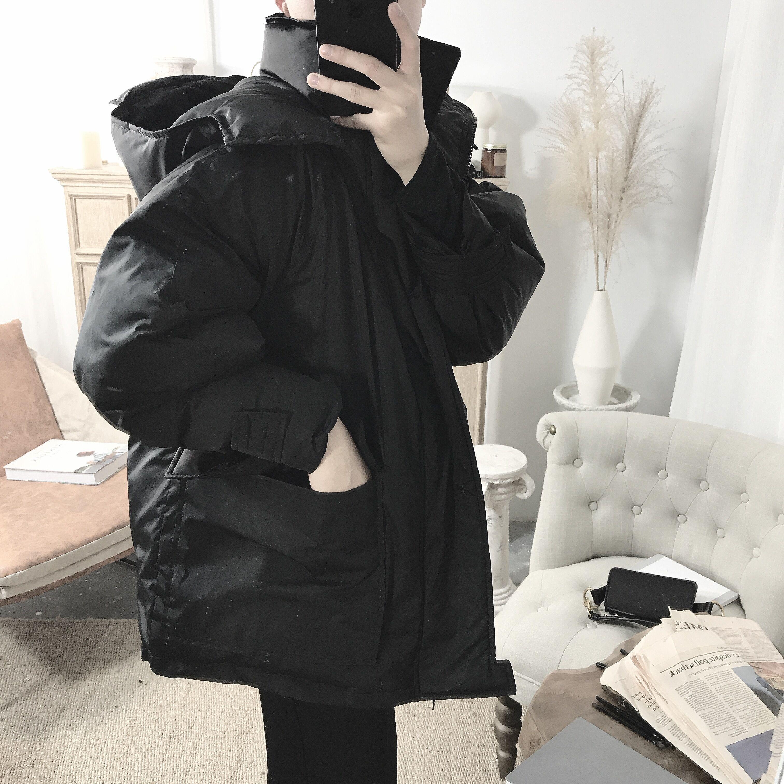 阿茶与阿古黑色暗黑连帽韩版简约复古加厚保暖棉服棉衣