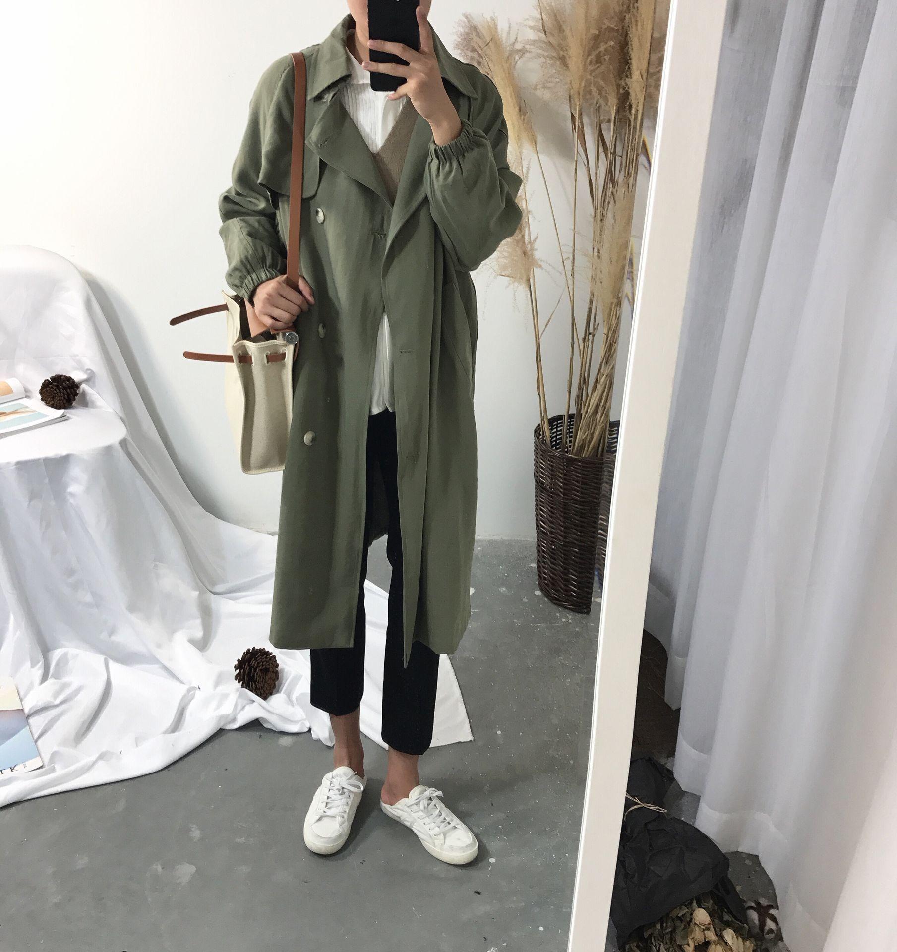 阿茶与阿古自制款垂感军绿色斜纹收口风衣