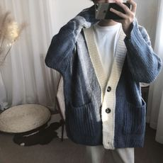 A tea and Agu blue knit V-neck loose padded simple hipster sweater cardigan