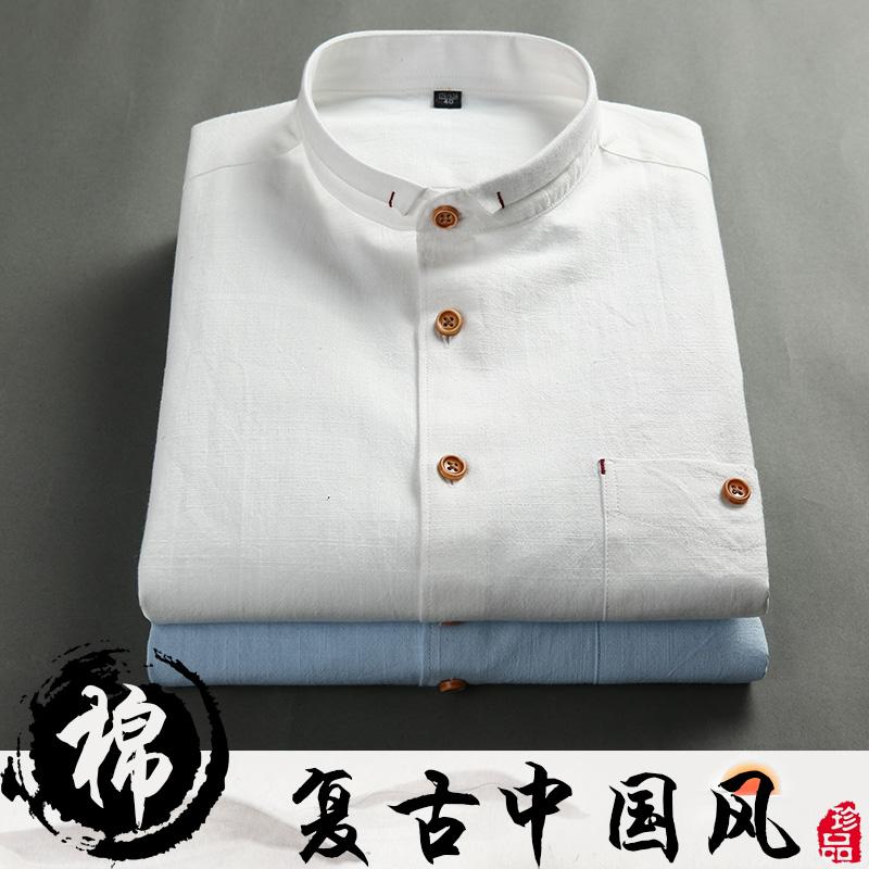 亚麻衬衫男装短袖夏装新款 中国风纯棉纯色韩版修身青年棉麻衬衣