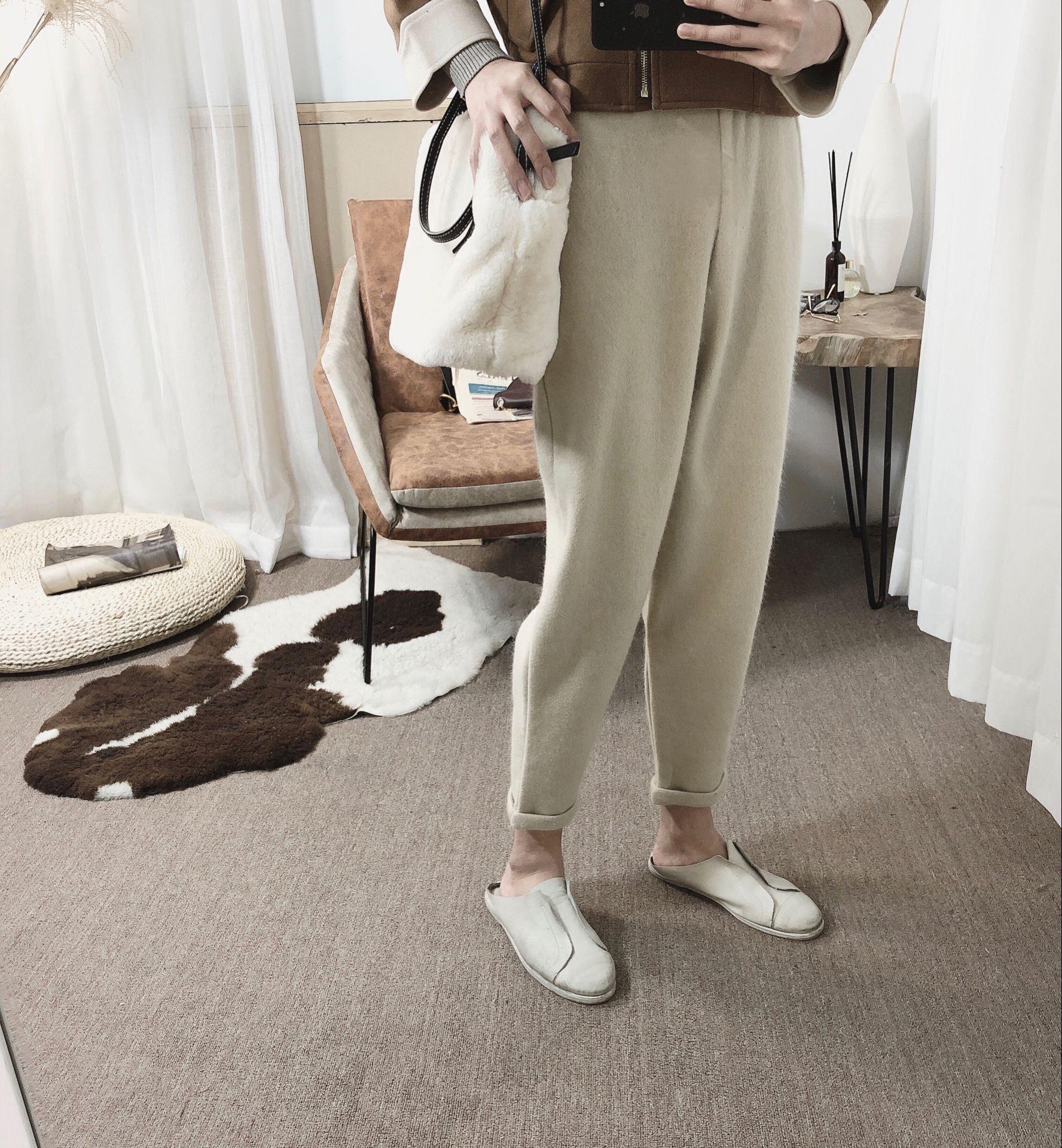 阿茶与阿古冬款加厚松紧毛呢韩版萝卜裤休闲裤小脚裤
