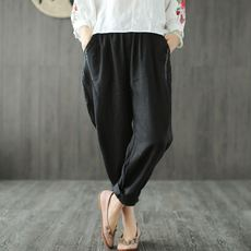 Small ears produced ramie elastic waist solid color casual pants loose wild thin art retro spring female harem pants