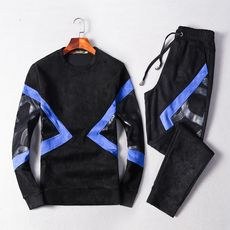 Autumn and winter new men's suit sweater round neck Slim Korean sports pants two-piece European and American color mosaic set