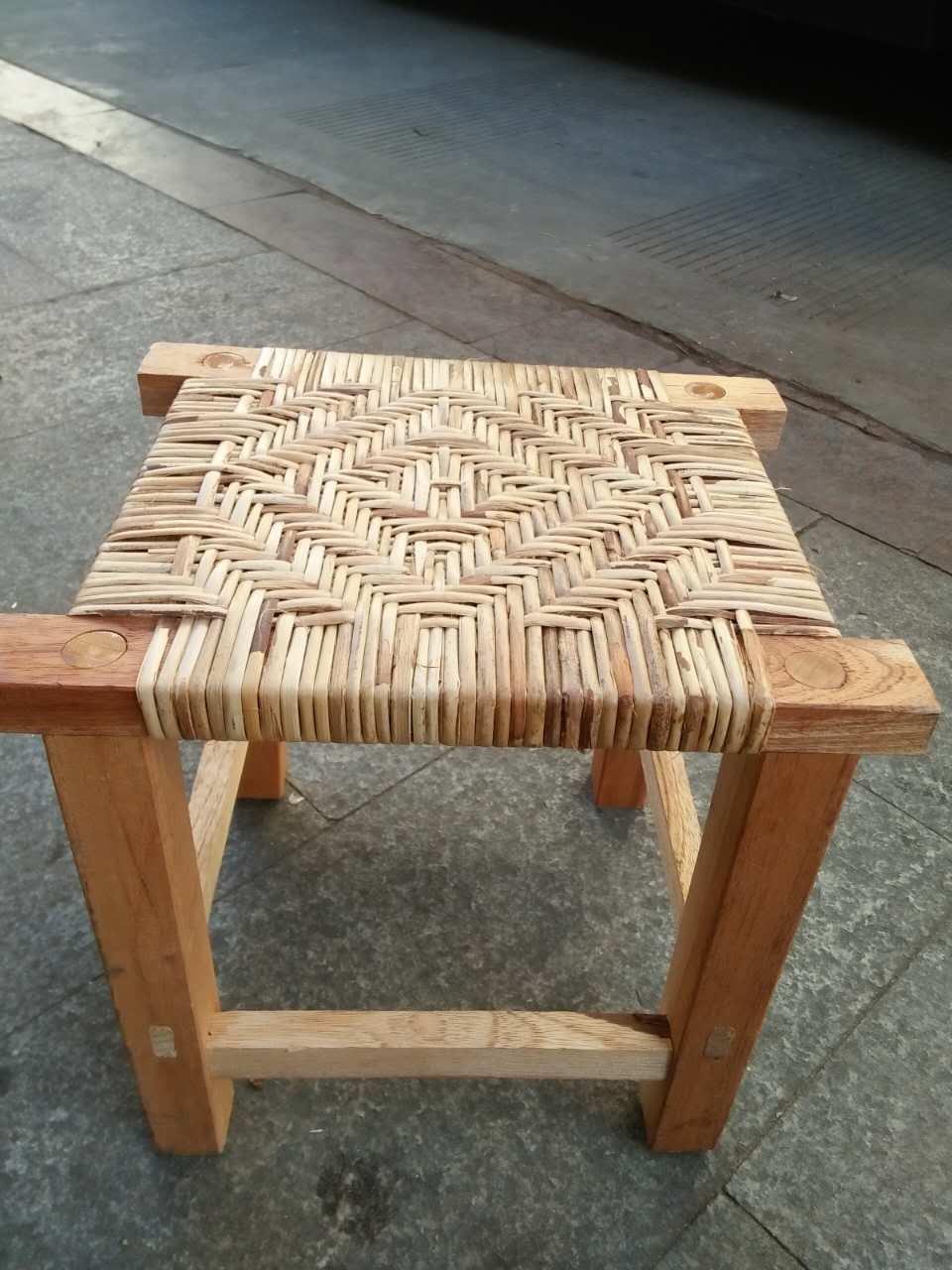 手工民族简约四角凳 傣族 手工编制矮凳矮墩方墩方凳小凳子