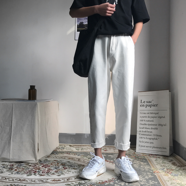 夏季新款韩版清爽纯色直筒牛仔裤男士宽松潮流百搭九分裤学生裤子