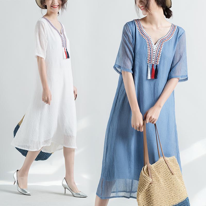 实拍新款2018夏装中国风复古民族风流苏仿真丝短袖连衣裙