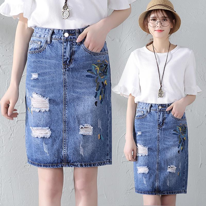 实拍夏季时尚刺绣破洞牛仔半身裙个性开叉打底裙牛仔裙子