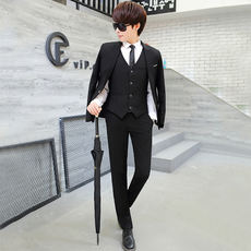 Summer five-piece men's slim suit suit Korean version of the handsome young student dress professional grooming suit