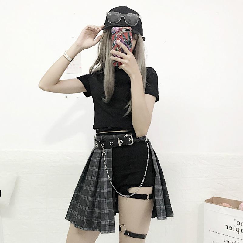 港味复古学院风韩版时尚短款小t恤+短裤+凹造型皮带+高腰半身裙女