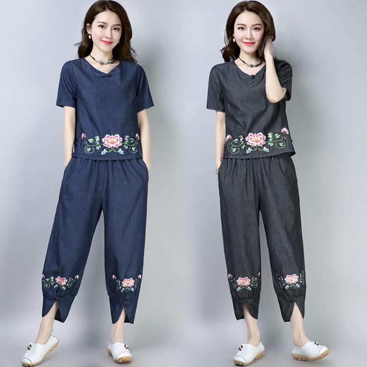 套装 新款中国风刺绣民族风女装盘扣宽松大码休闲牛仔面料绣花