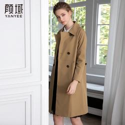 颜域女装2018秋季新款气质英伦风双排扣修身卡其色中长款风衣外套