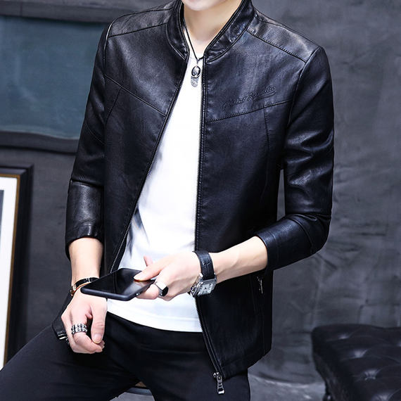 Autumn and winter men's leather jacket new Pew jacket Korean Slim youth students leisurely clothes tide