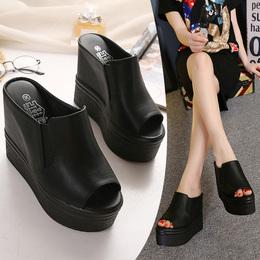 坡跟超高跟防水台松糕厚底鱼嘴凉鞋夜店性感内增高时尚黑色拖鞋女