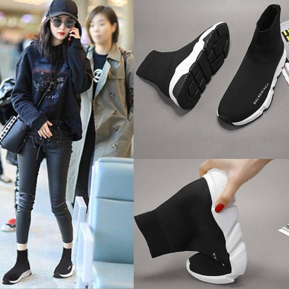Stretch socks shoes Korean version of ulzzang Paris high help casual socks boots men and women sports increased couples tide shoes