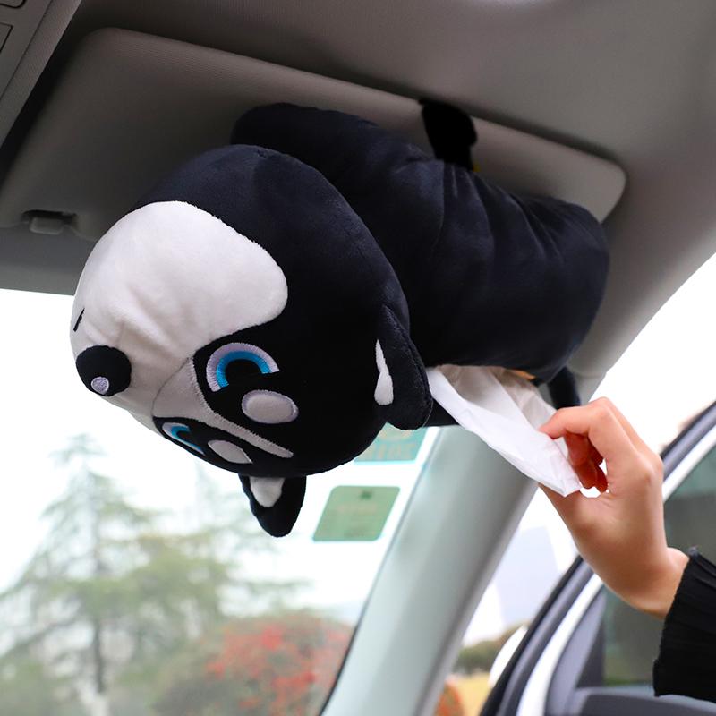 创意汽车扶手箱纸巾盒抽挂式车载椅背抽纸盒车内用品固定卡通可爱
