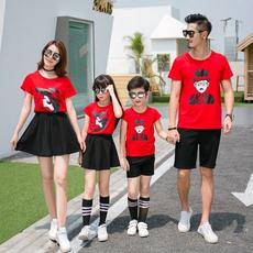 Family fitted summer 2018 new wave family cotton short-sleeved t-shirt family of three spring big red mother and child suit