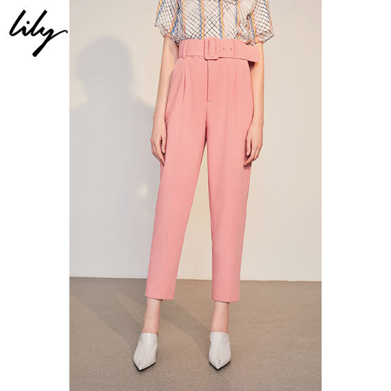 Lily2018 autumn new women's solid color watermelon red high waist was thin wide belt harem pants 118300C5618
