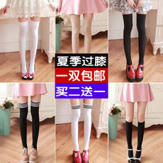 Velvet silicone knee socks Japanese summer thin high stockings stockings black and white socks air conditioning socks