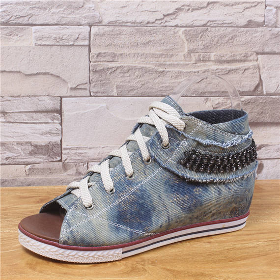 2018 summer new Han Faner wild high-top women's shoes flat bottom with open toe single shoes denim inside the climax