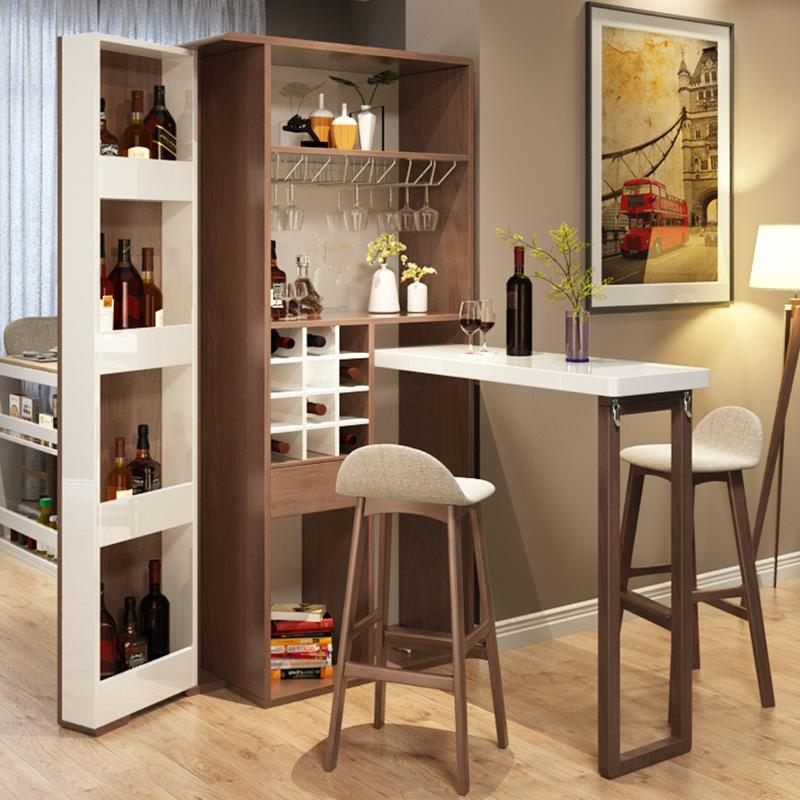 乐私现代简约可折叠伸缩小吧台桌客厅酒柜家用玄关柜隔断柜门厅柜图片