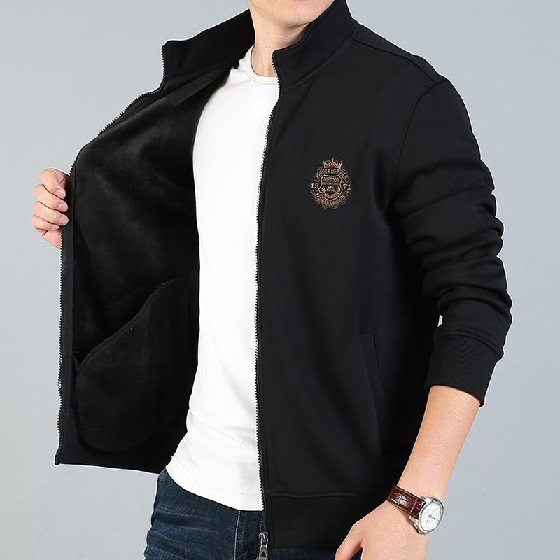 吉普盾秋冬季加绒开衫卫衣男商务休闲长袖上衣服男立领夹克外套男