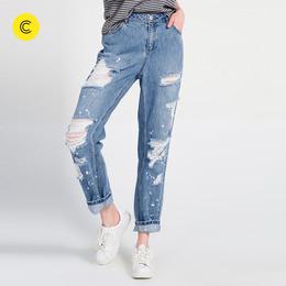 cachecache长裤子女春季修身水洗破洞漆点直筒牛仔裤女高腰