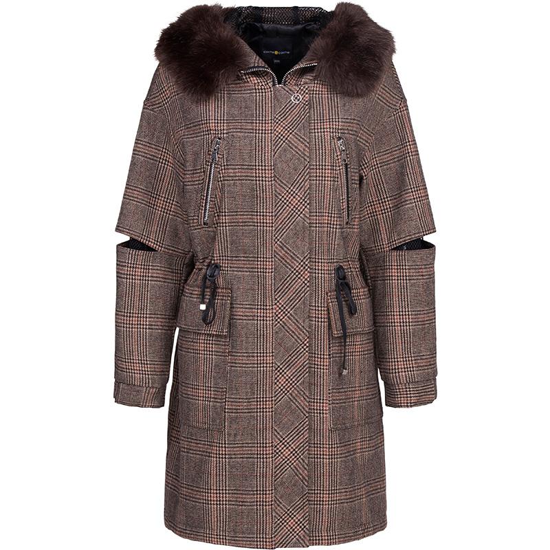 毛领外套手绘款式图