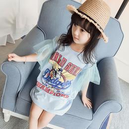 女童夏装2018新款韩版儿童宝宝夏季棉质短袖娃娃裙卡通裙子连衣裙
