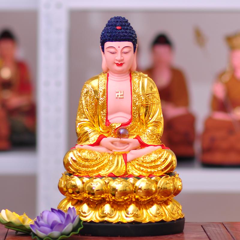 树脂佛像 镀金 释迦牟尼佛像 如来佛祖 三宝佛 阿弥陀佛 药师佛