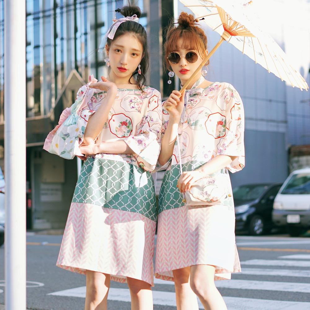 CHESTNUT/栗森系中式领口团扇波纹拼接宽松显瘦百搭chicT裙连衣裙